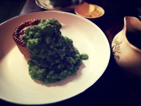 Pork pie with a side of mushy peas ...
